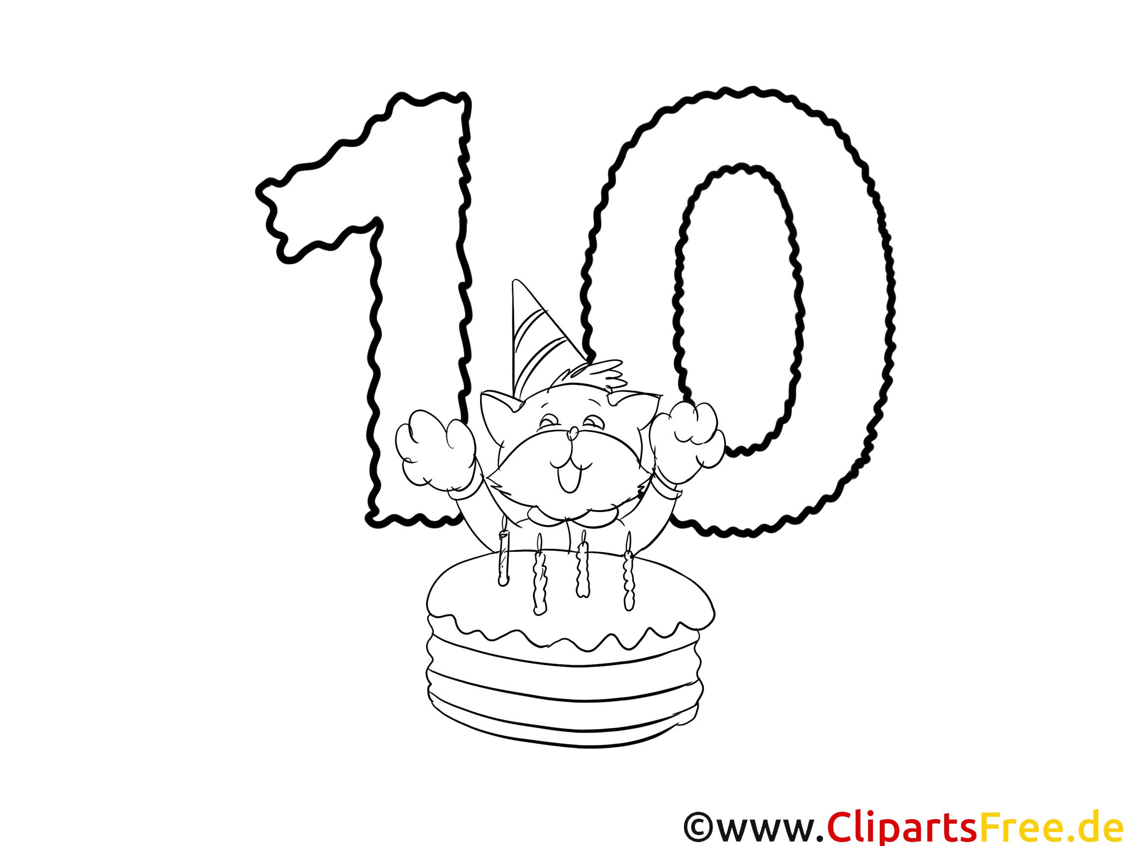 10 Ans Illustration Coloriage Anniversaire Cliparts Anniversaire