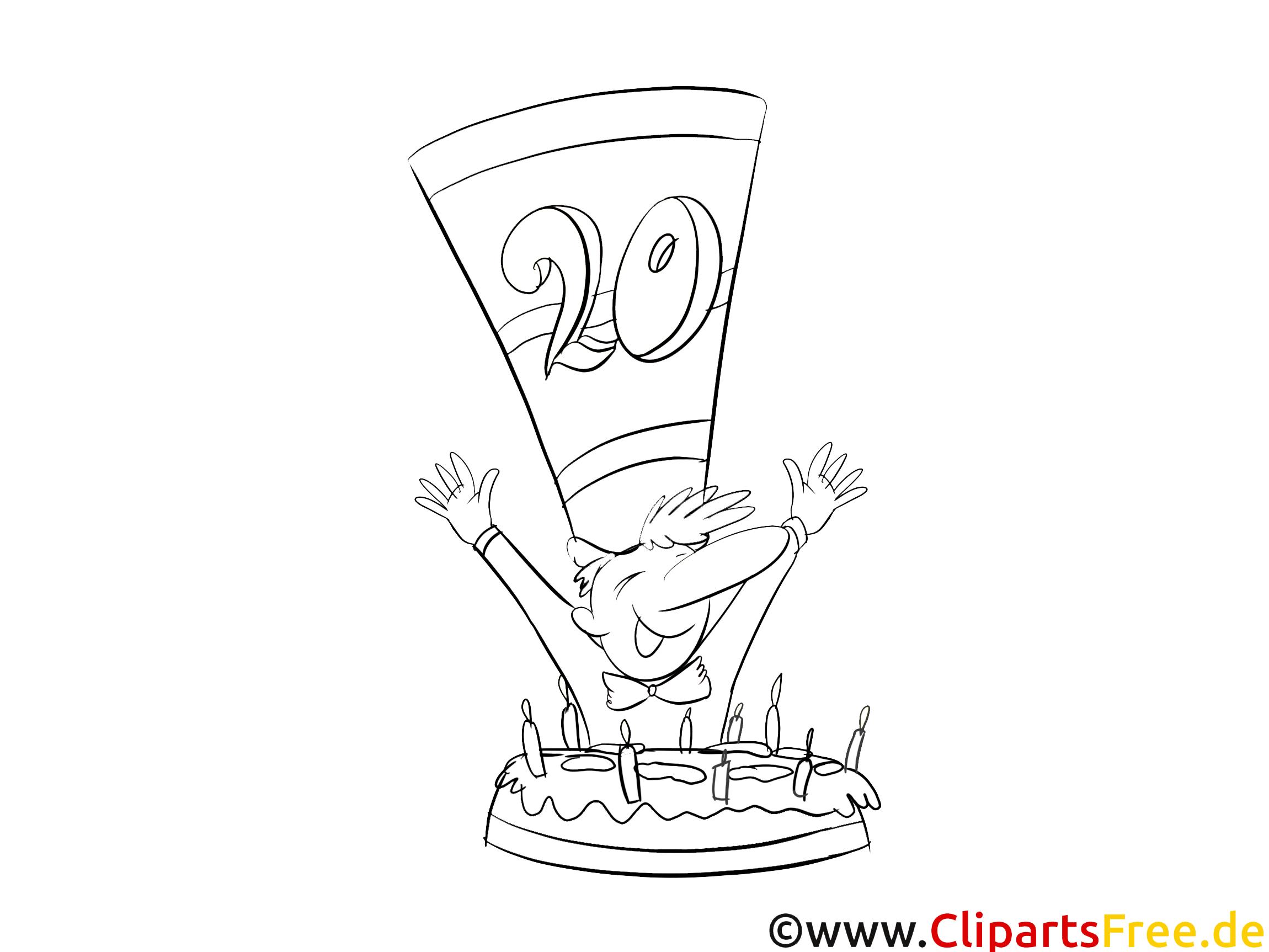 20 ans image coloriage anniversaire illustration anniversaire coloriages gratuit dessin - Dessin anniversaire 20 ans ...