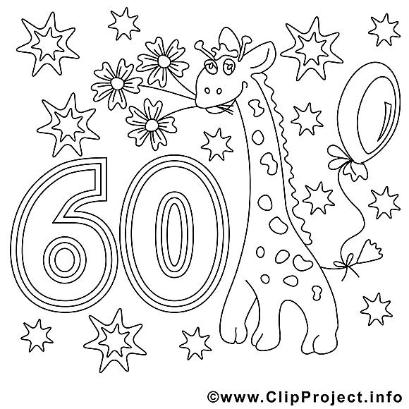 60 ans clipart gratuit anniversaire colorier anniversaire coloriages gratuit dessin - Clipart anniversaire 60 ans ...