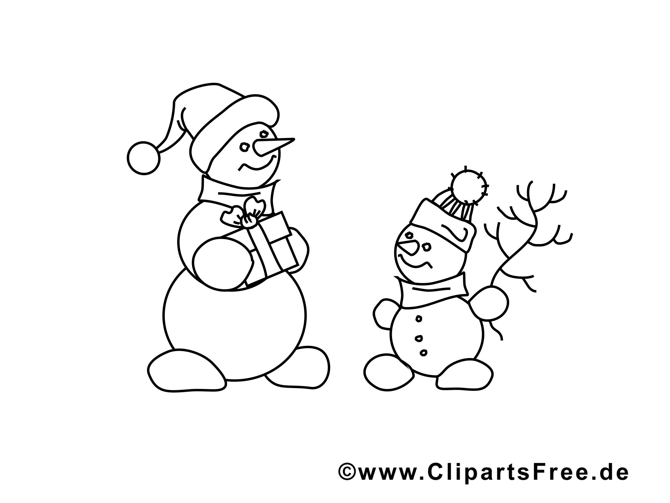 Bonhomme de neige clip art gratuit – Avent à colorier