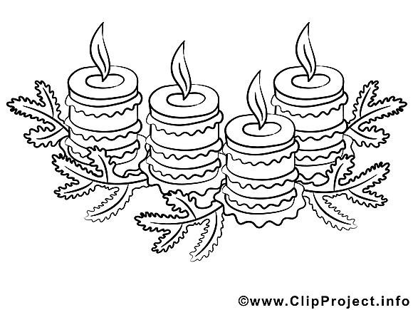 Bougies image gratuite – Noël à colorier
