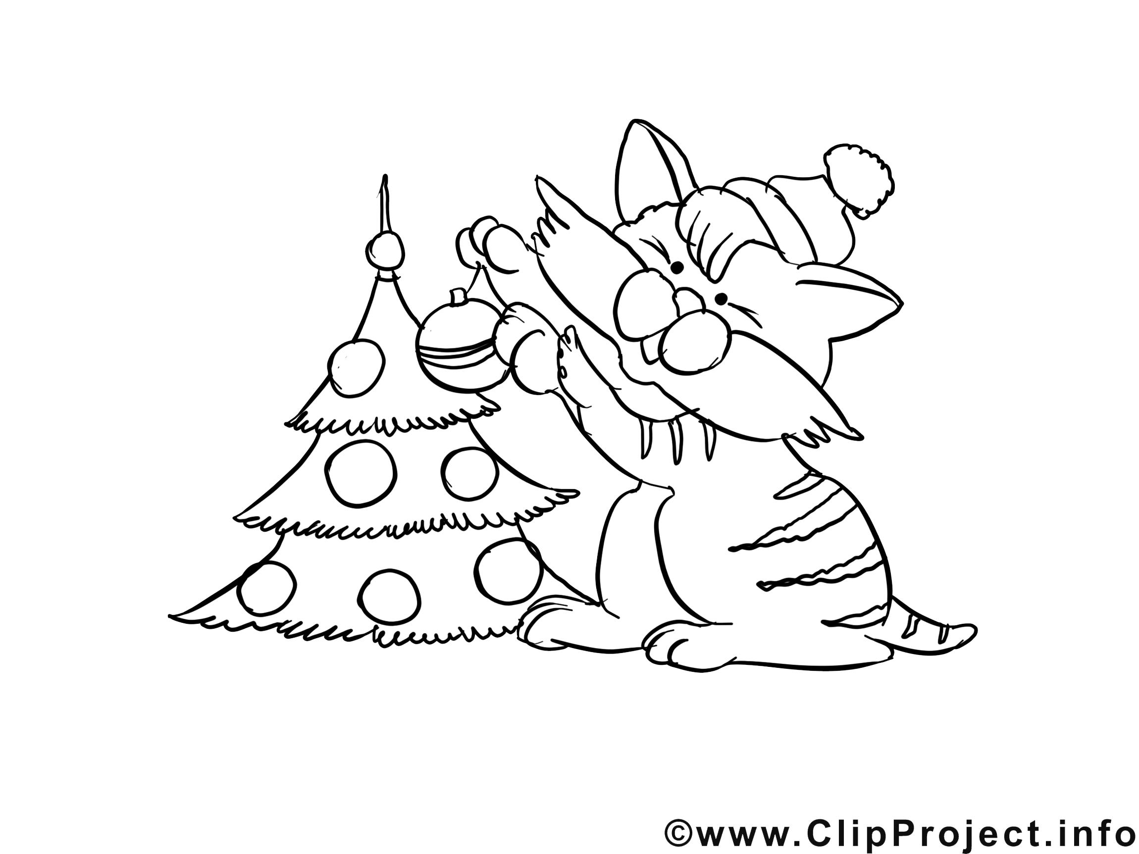 Chat dessin gratuit – Avent à colorier