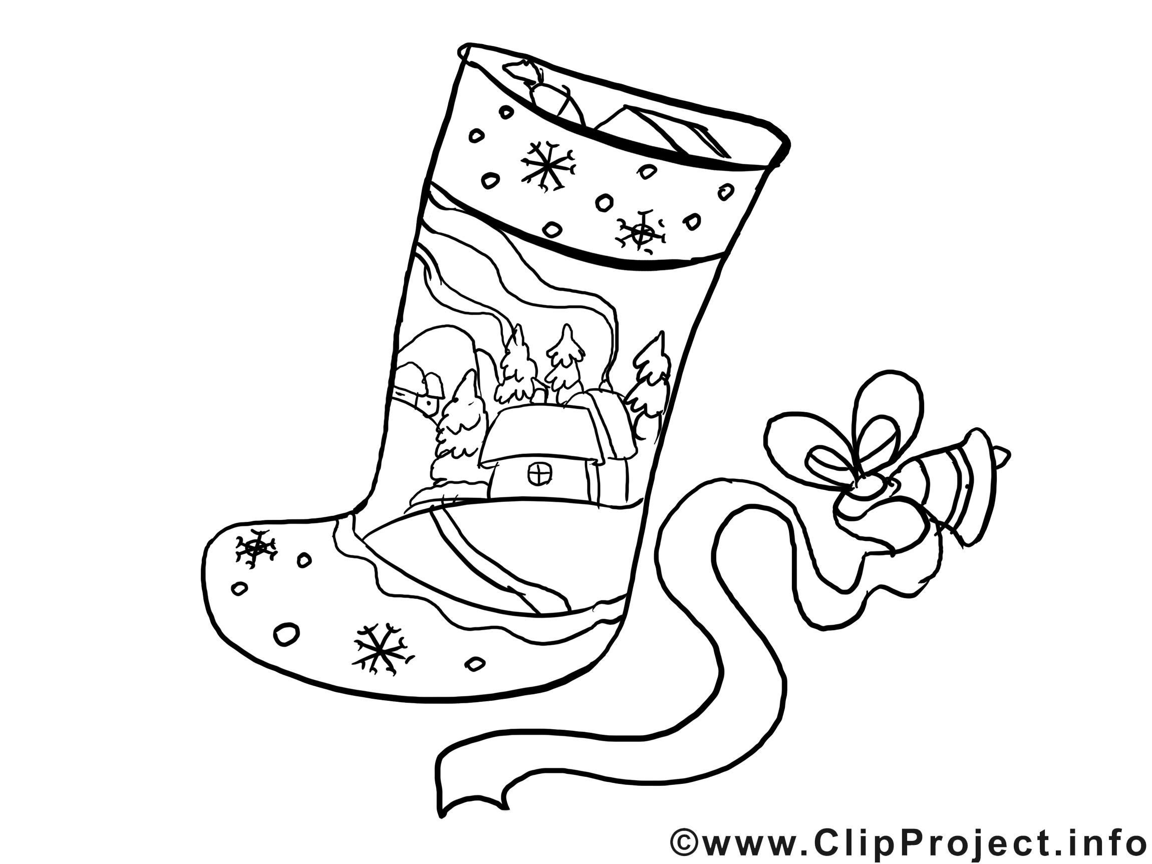 Chaussette clip art – Noël image à colorier