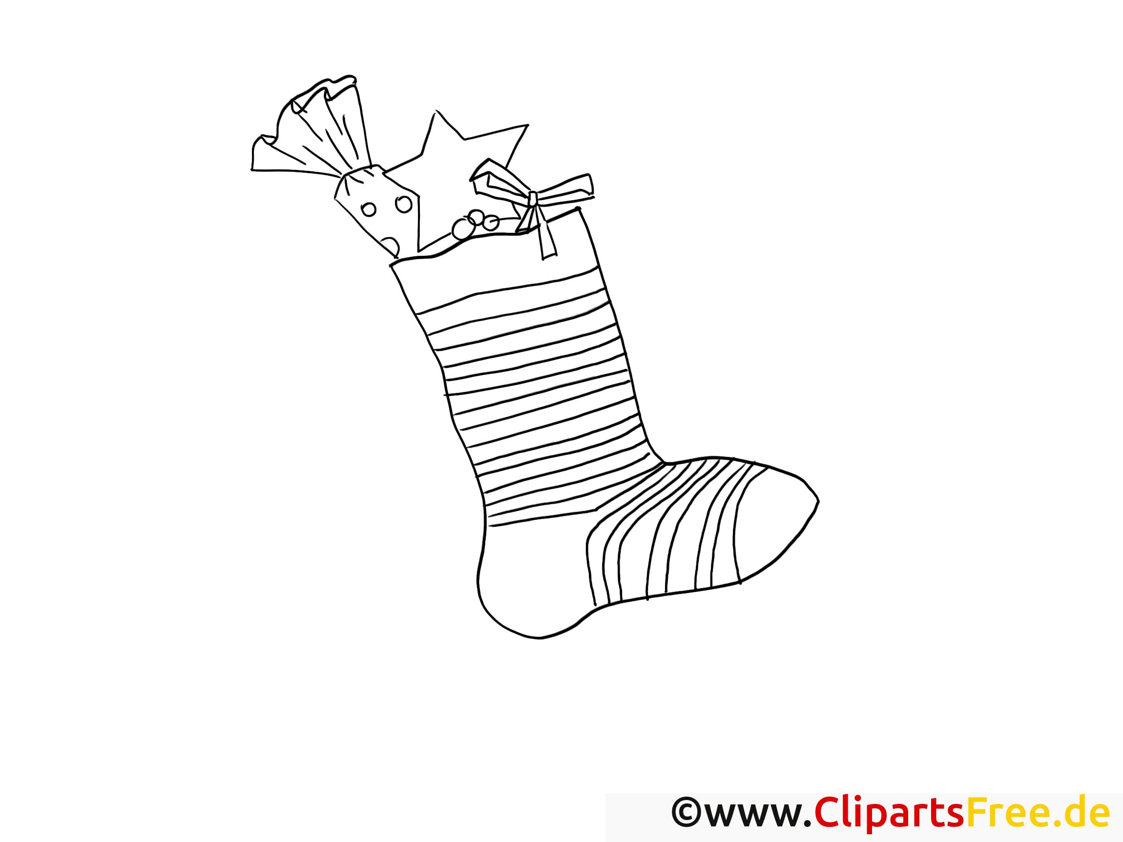 Chaussette clipart – Avent dessins à colorier