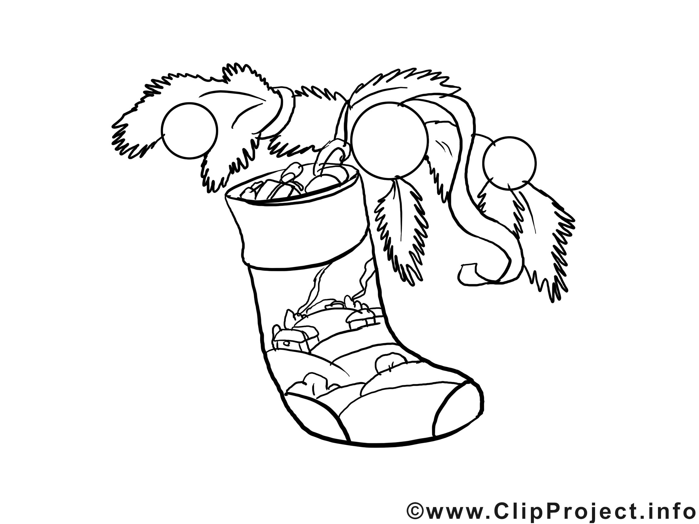 Chaussette image à télécharger – Nouvel an à colorier