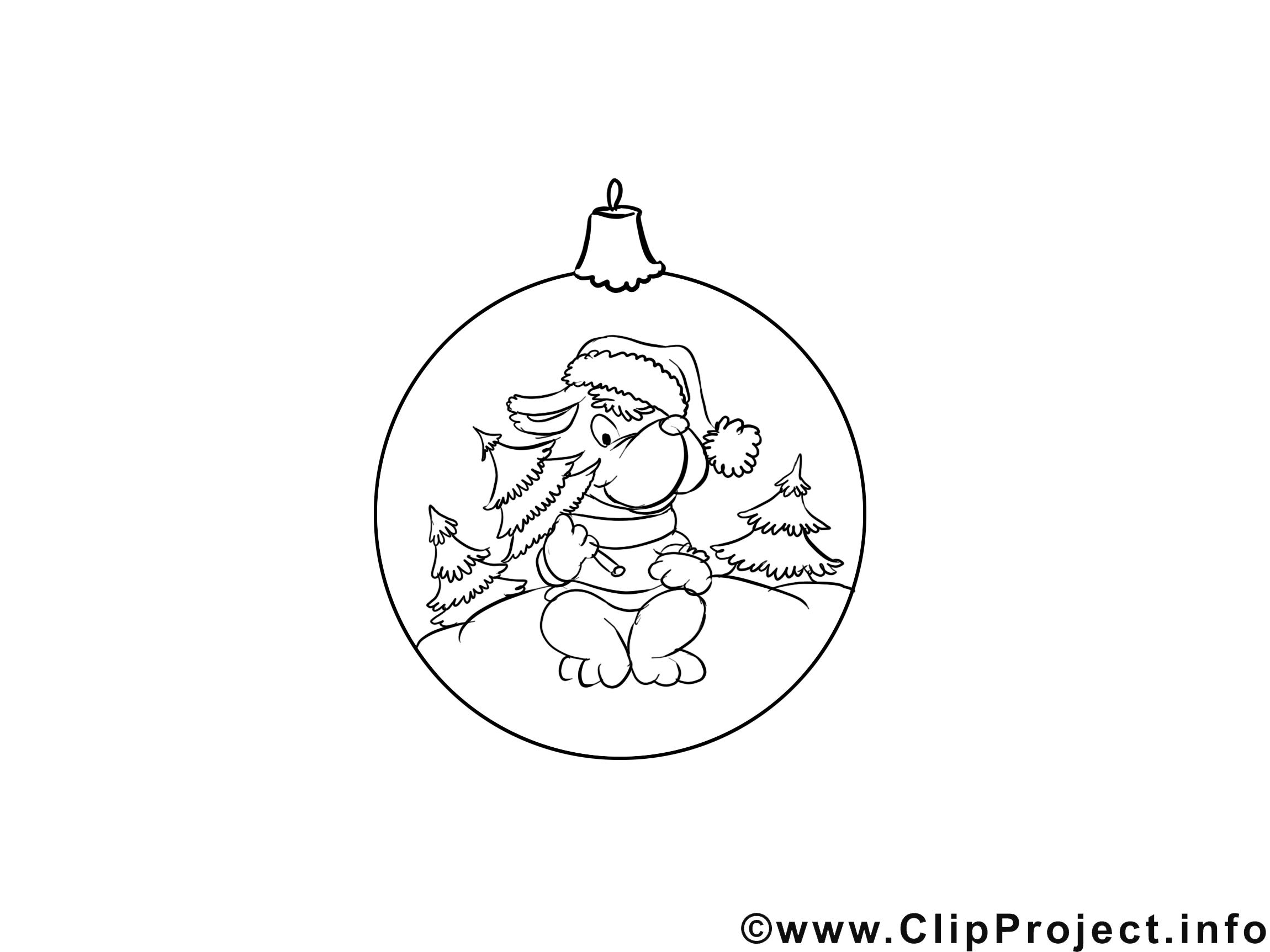 Chien boule de neige illustration – Avent à imprimer