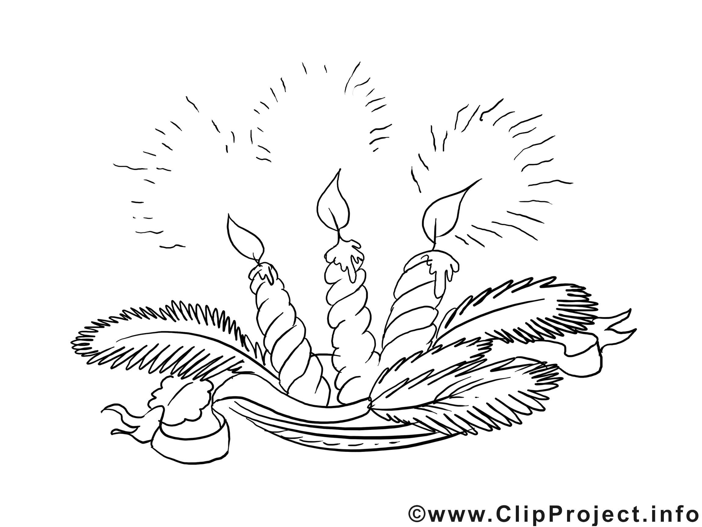 Dessin bougies – Coloriage Avent à télécharger