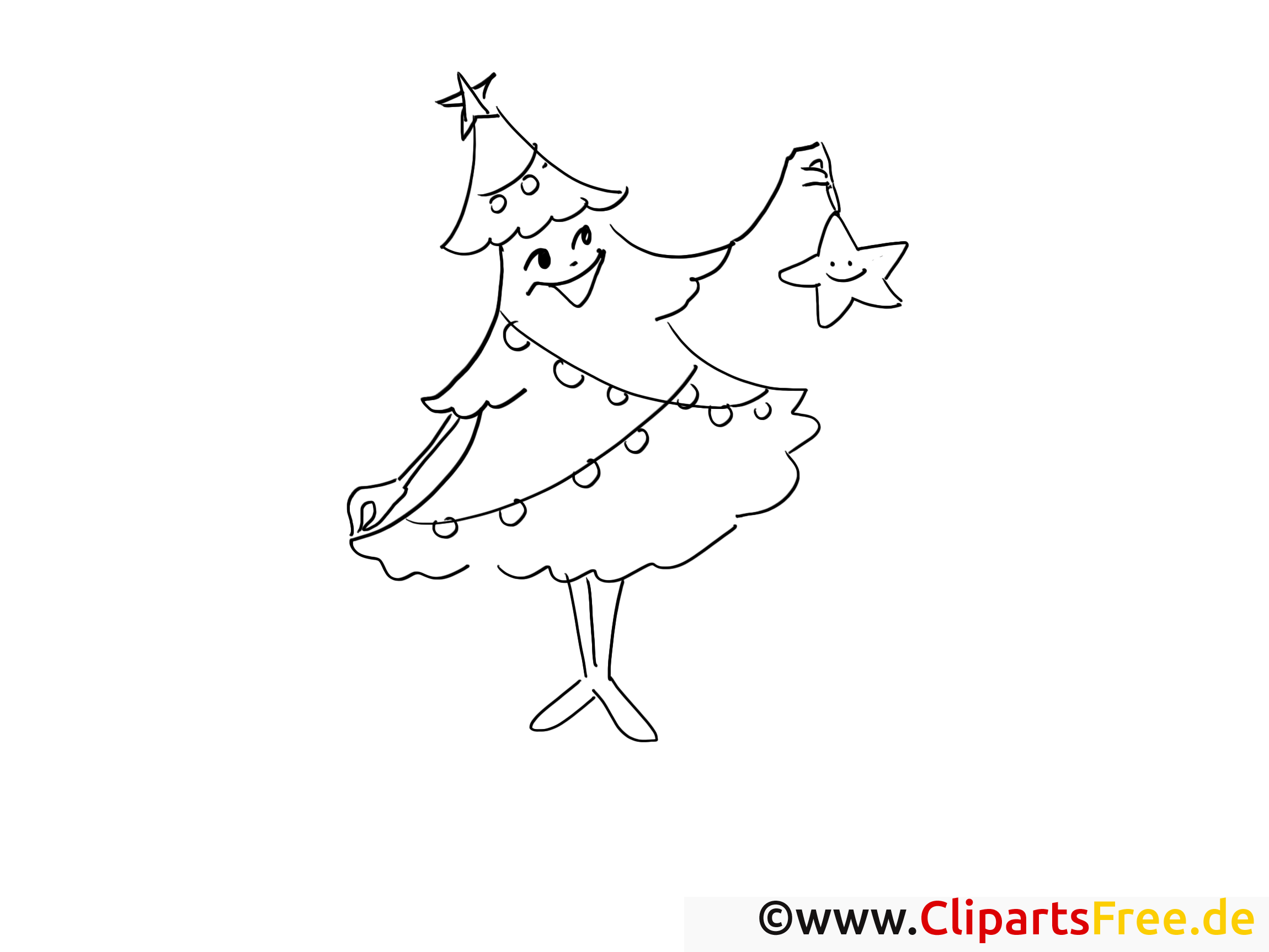 Étoile sapin image – Coloriage avent illustration