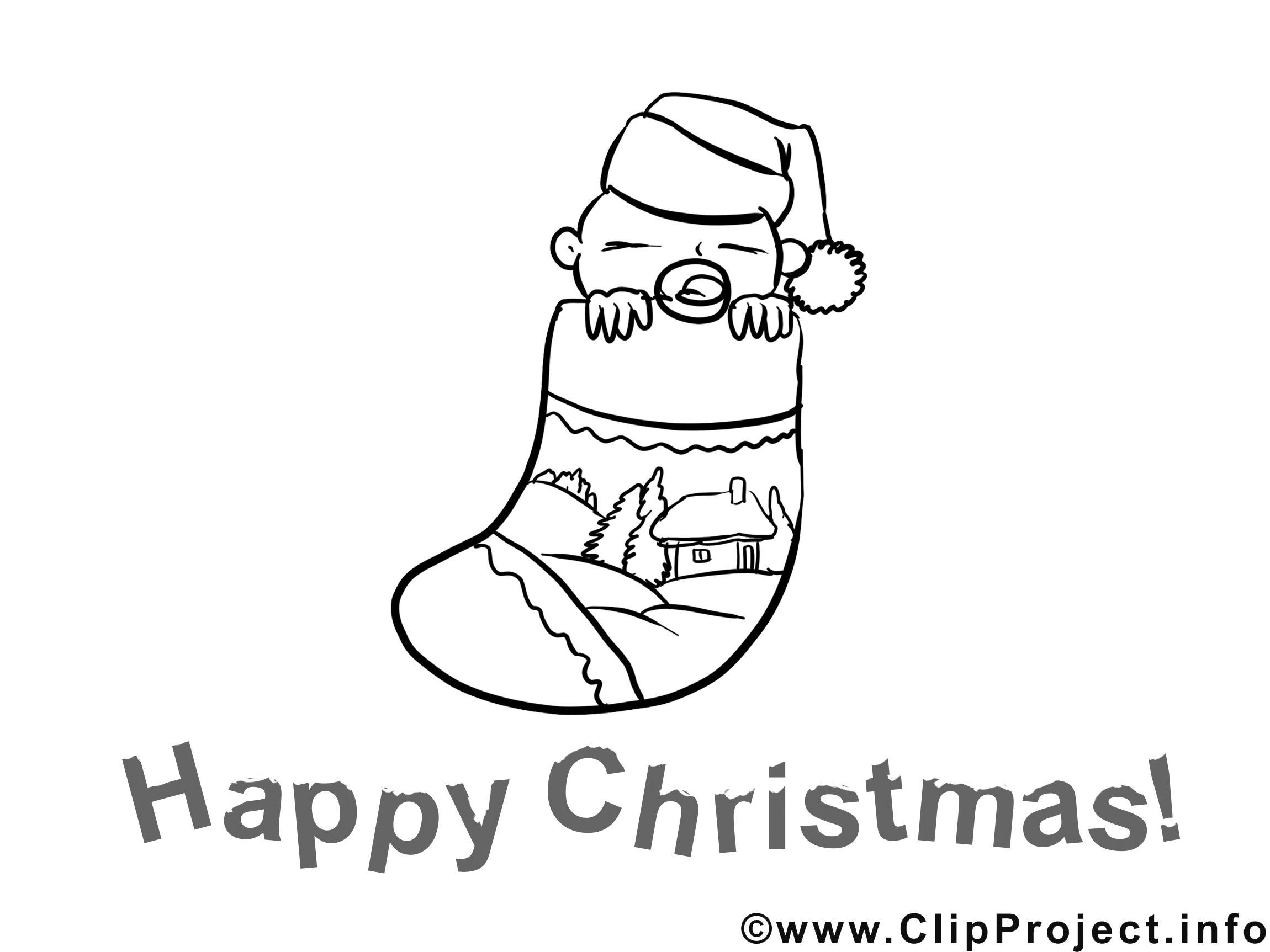 Images gratuites chaussette – Avent à colorier