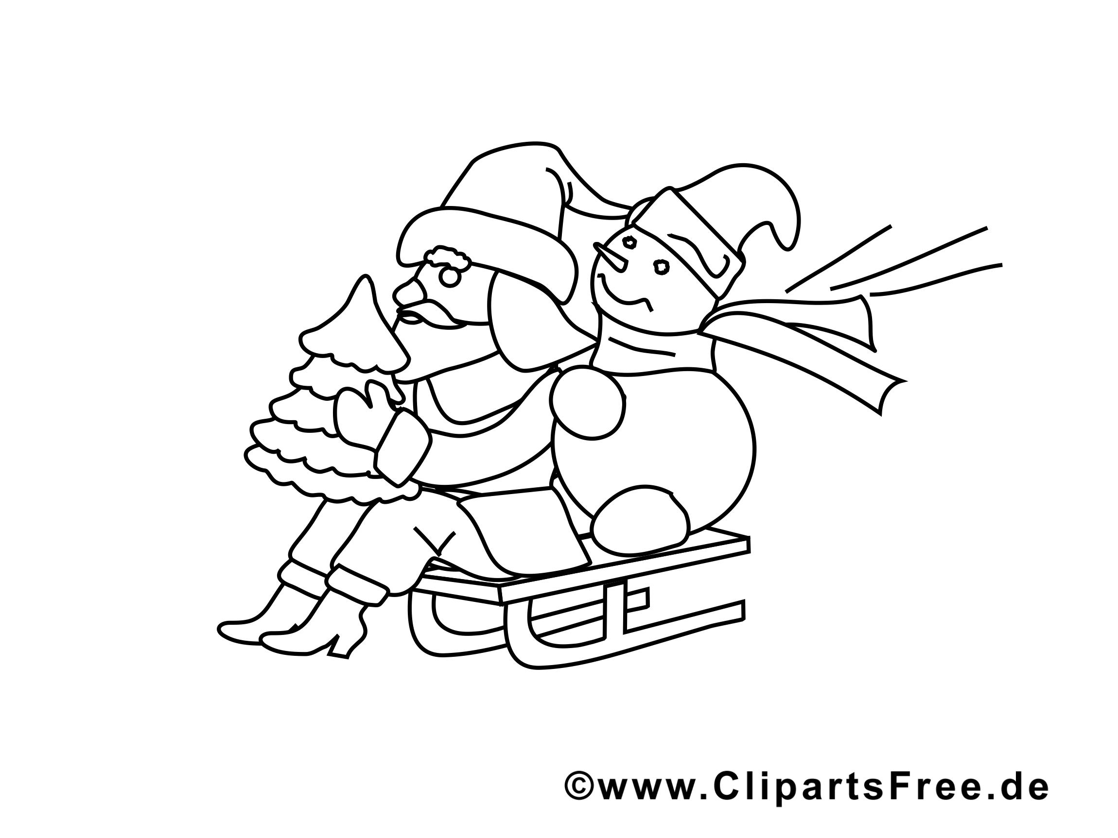 Luges illustration – Coloriage avent cliparts