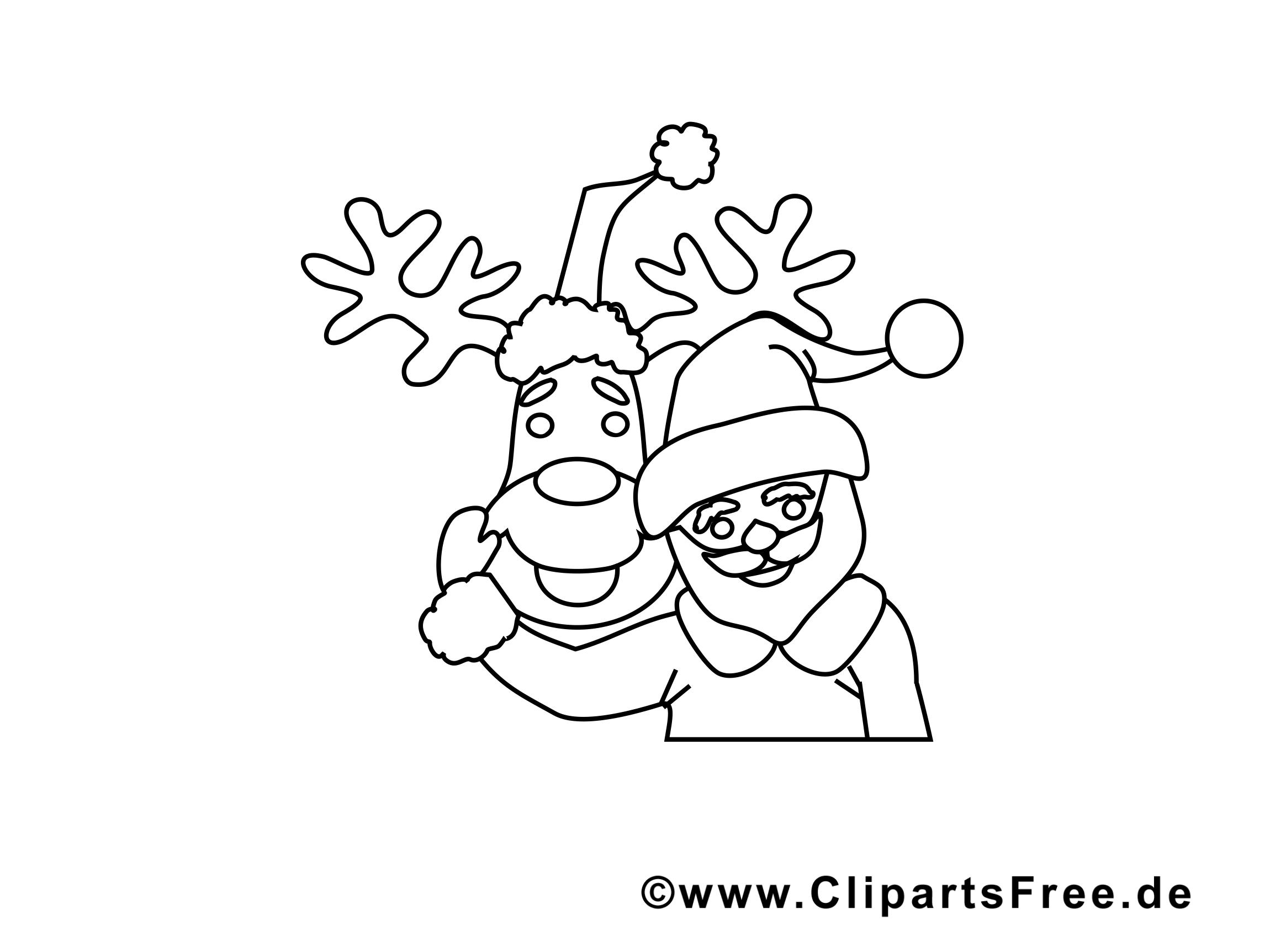 Renne dessin à télécharger – Avent à colorier
