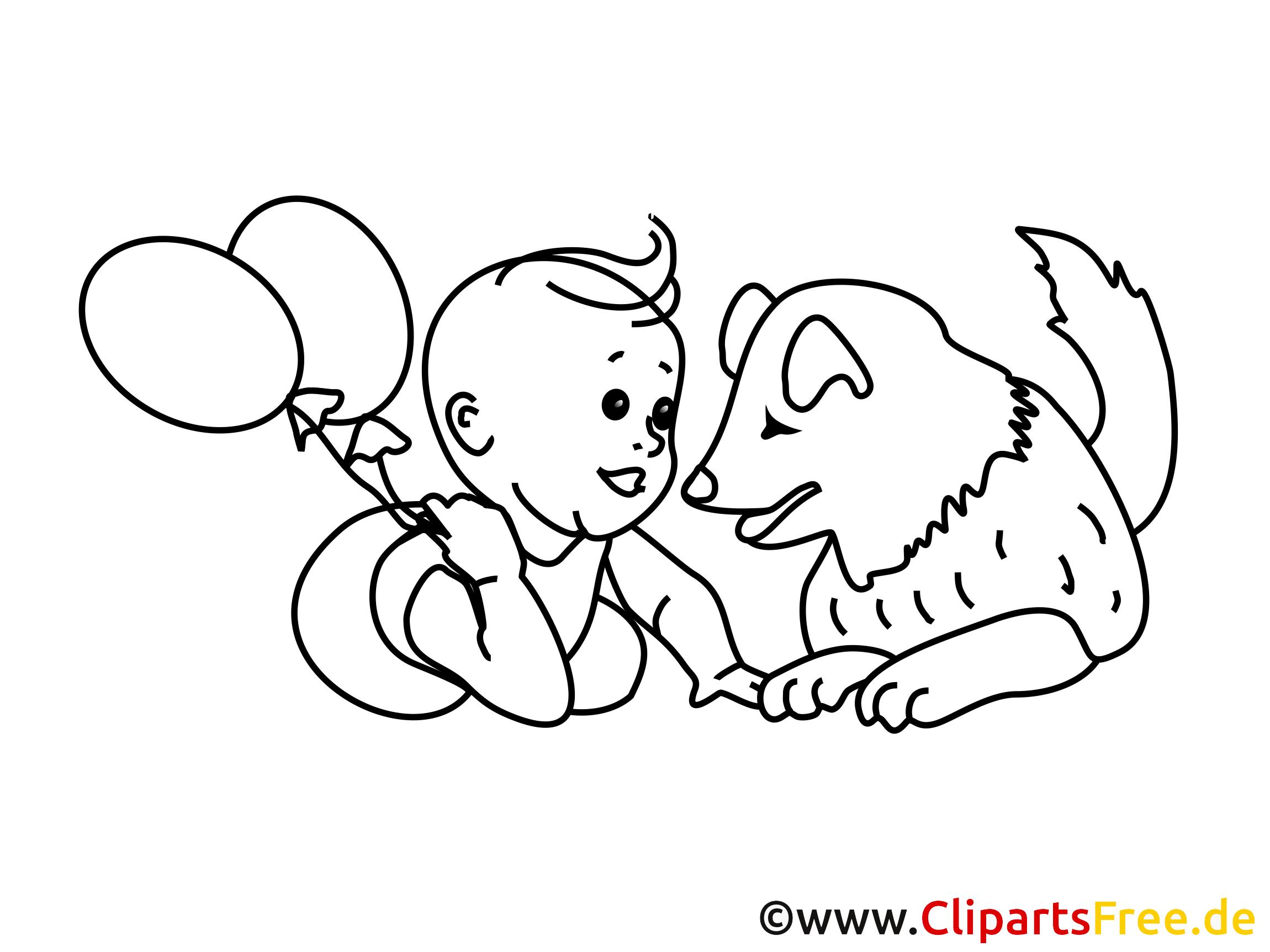 Ballons clipart gratuit – Bébé  colorier