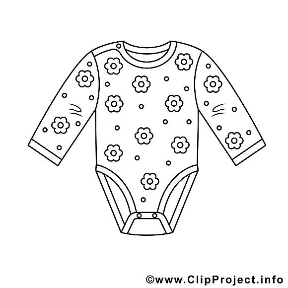 Vêtement dessin à télécharger – Bébé à colorier