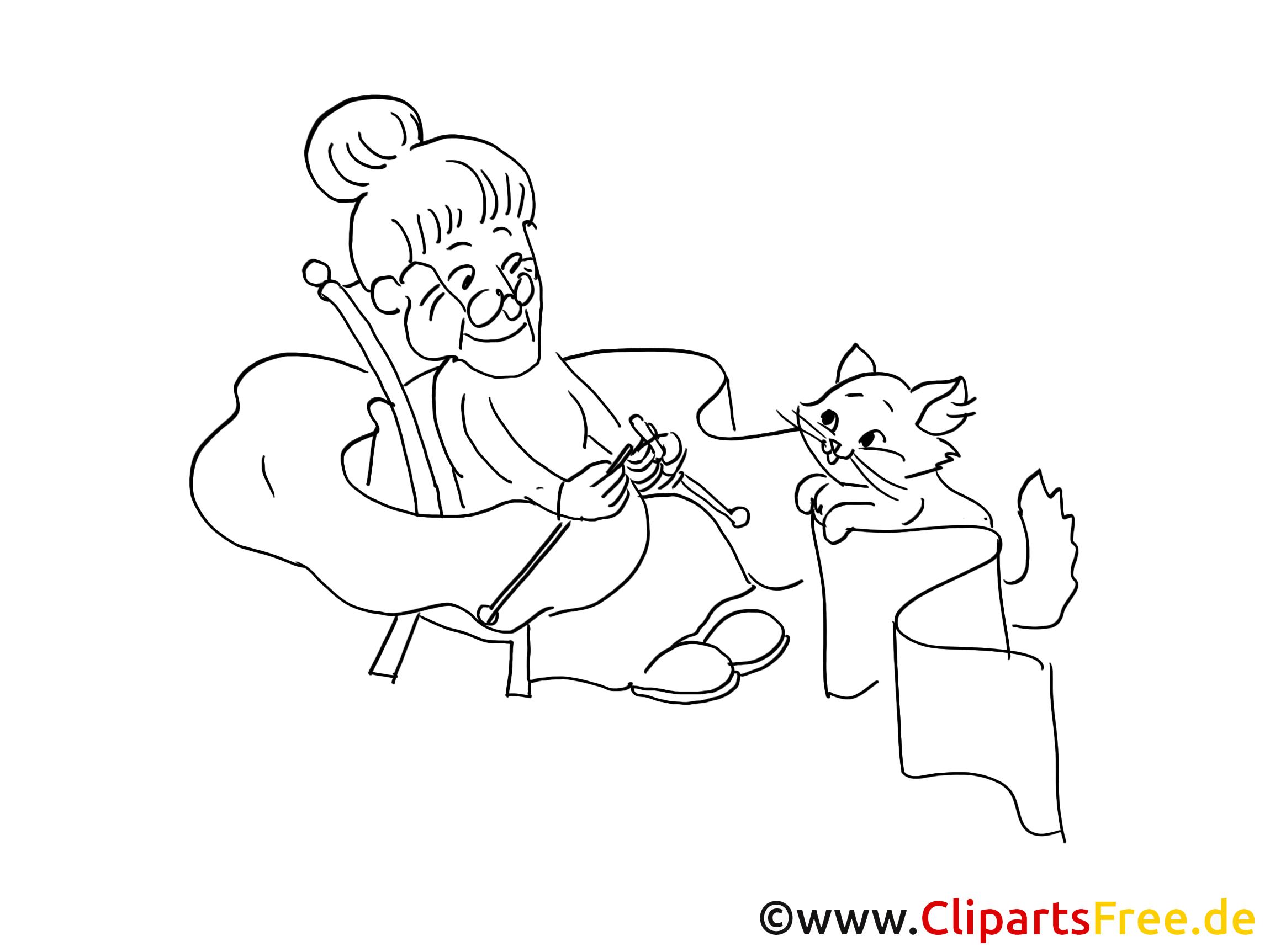 Grand-mère dessin à télécharger – Chats à colorier