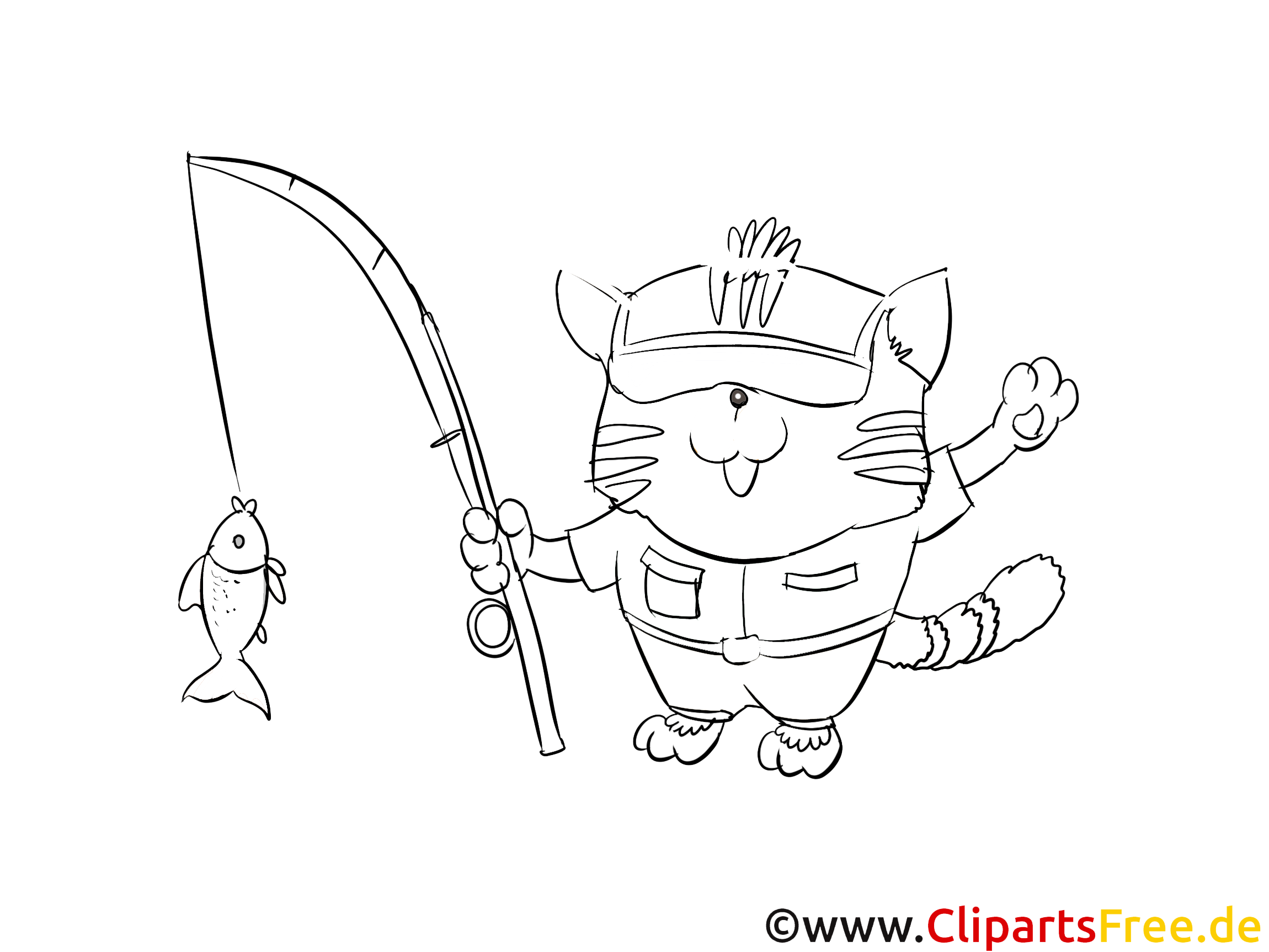 Poisson dessin – Coloriage chats à télécharger