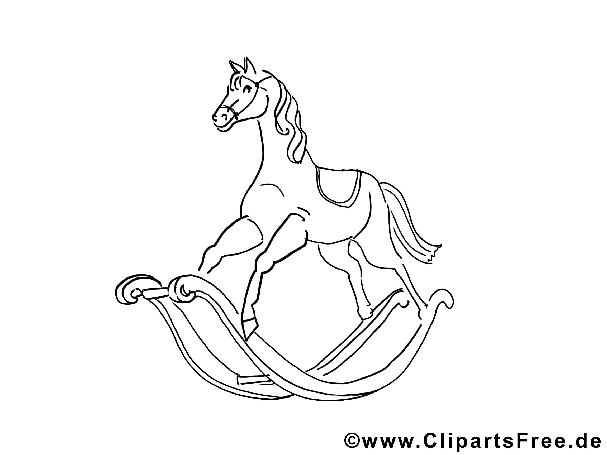 Cheval en bois dessin – Divers à colorier