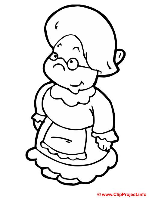 Grand-maman coloriage gratuit mamie