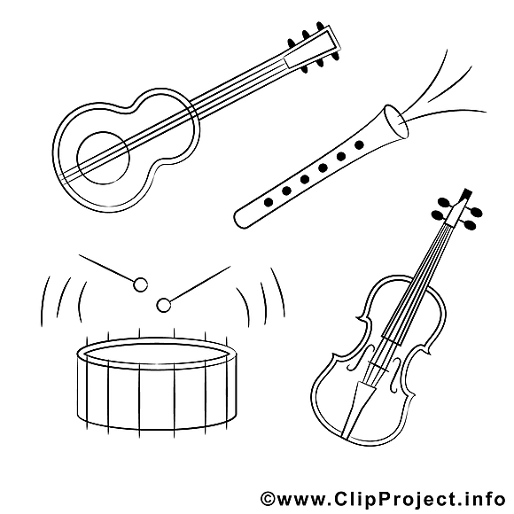 Instruments clipart gratuit – Divers à colorier