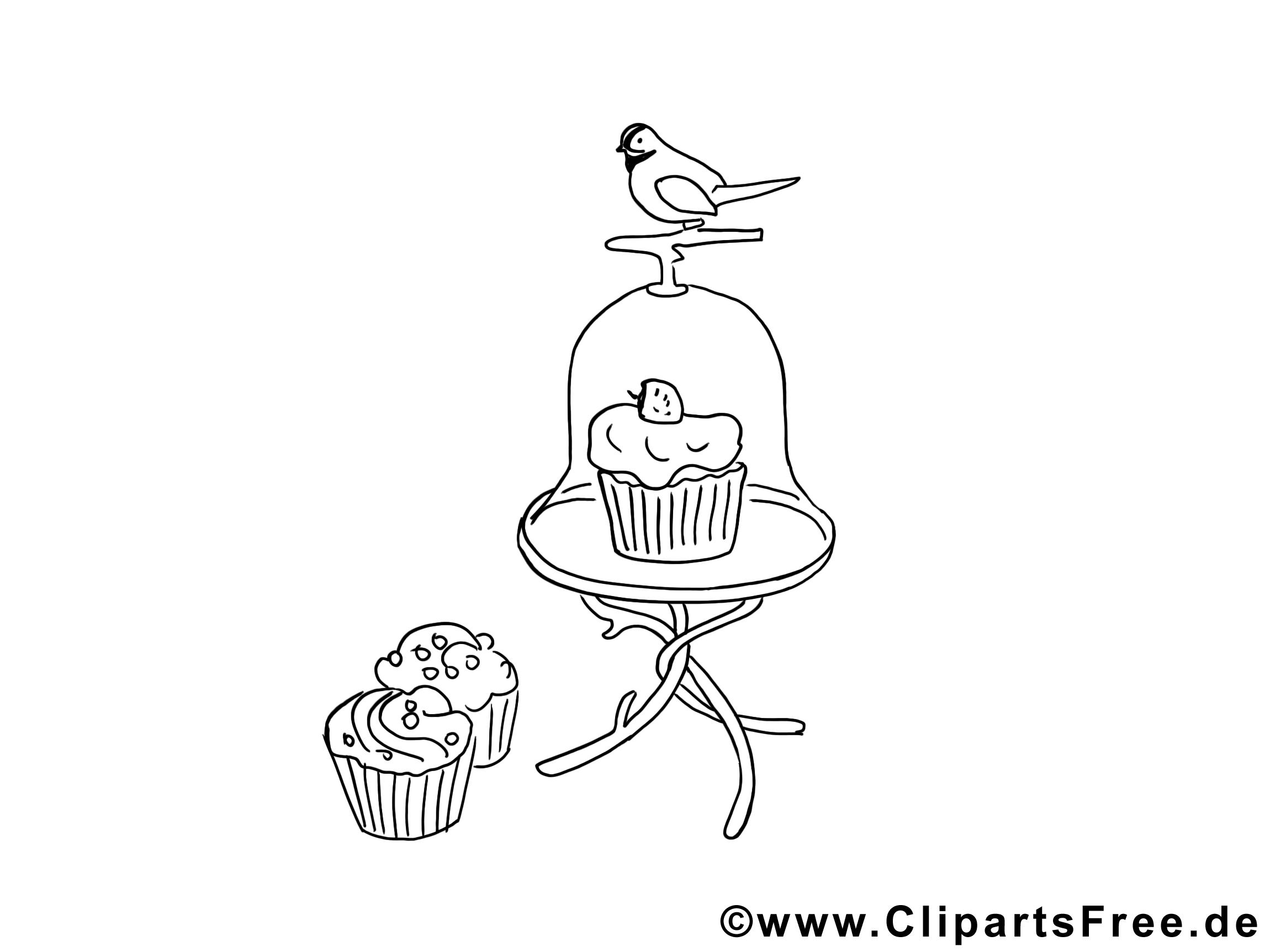 Oiseau gâteaux clipart – Divers dessins à colorier