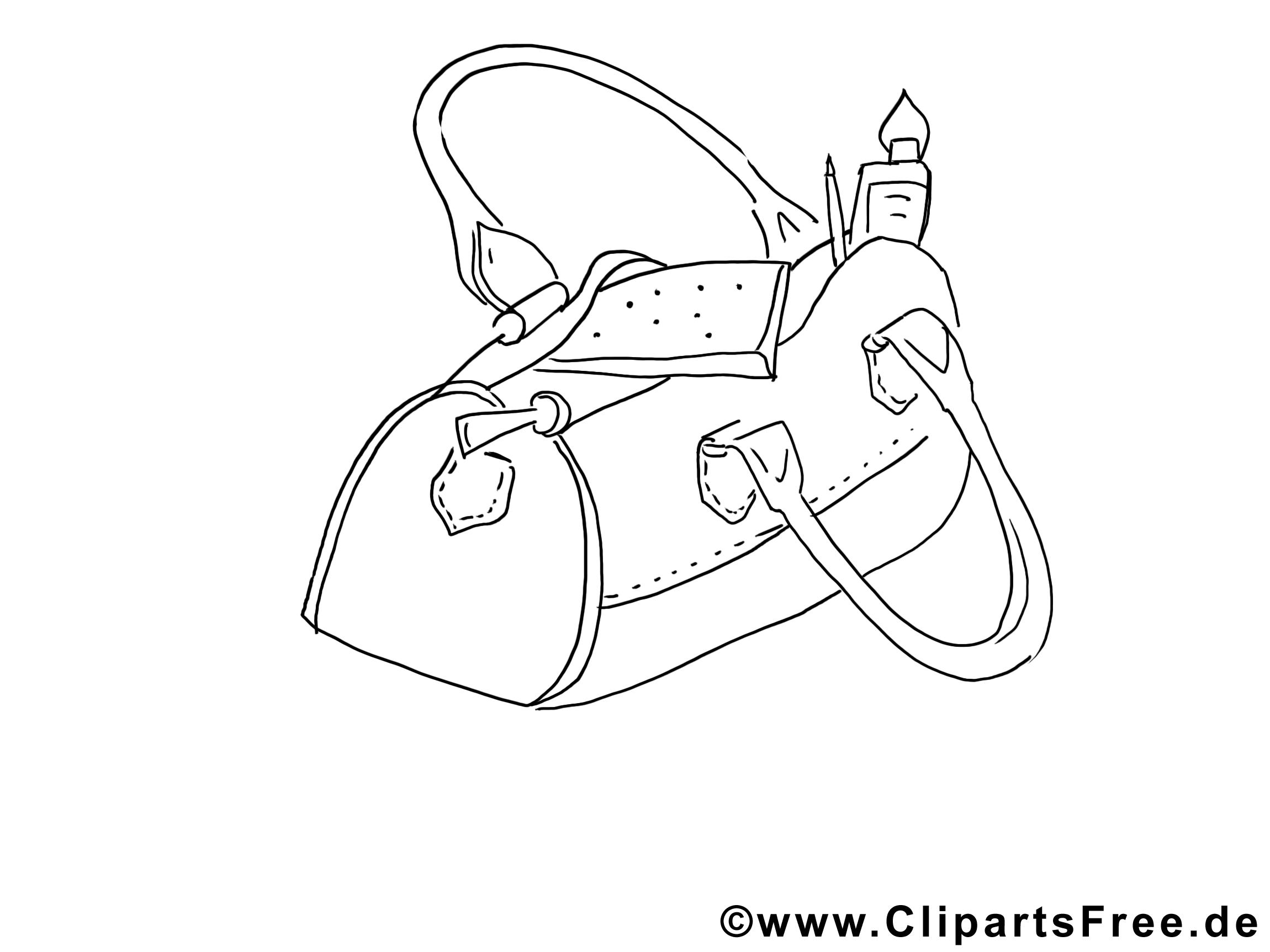 Sac à main clip art gratuit – Divers à colorier