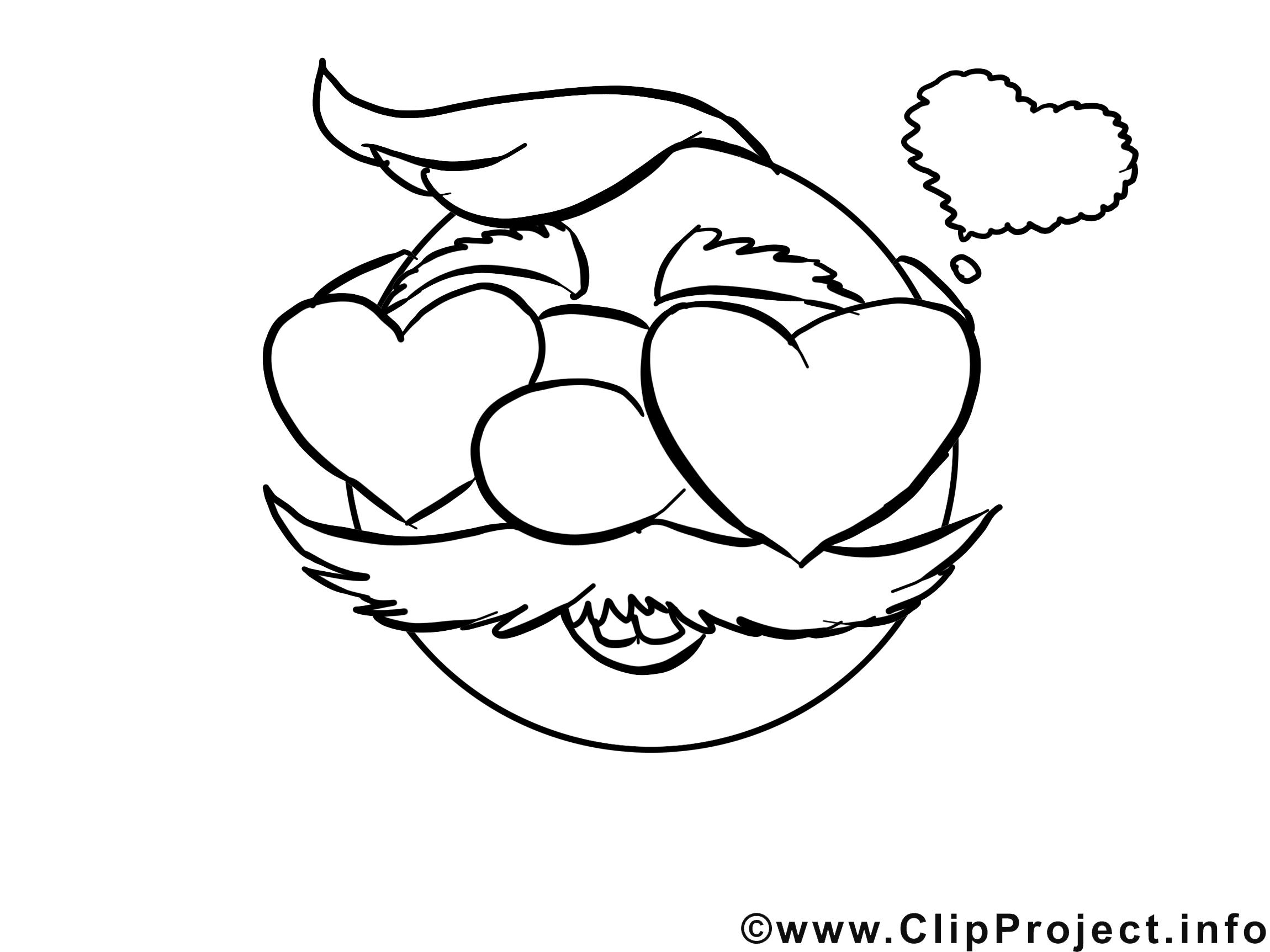Amoureux clip art – Émoticônes image à colorier
