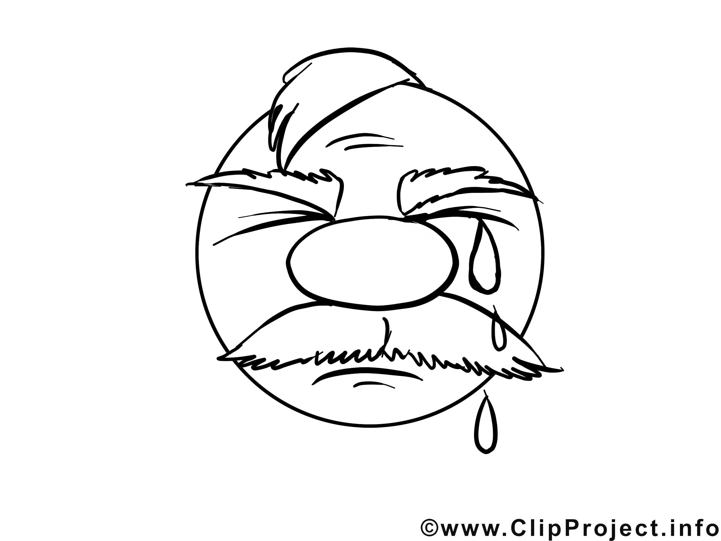 Pleure dessin gratuit – Émoticônes à colorier