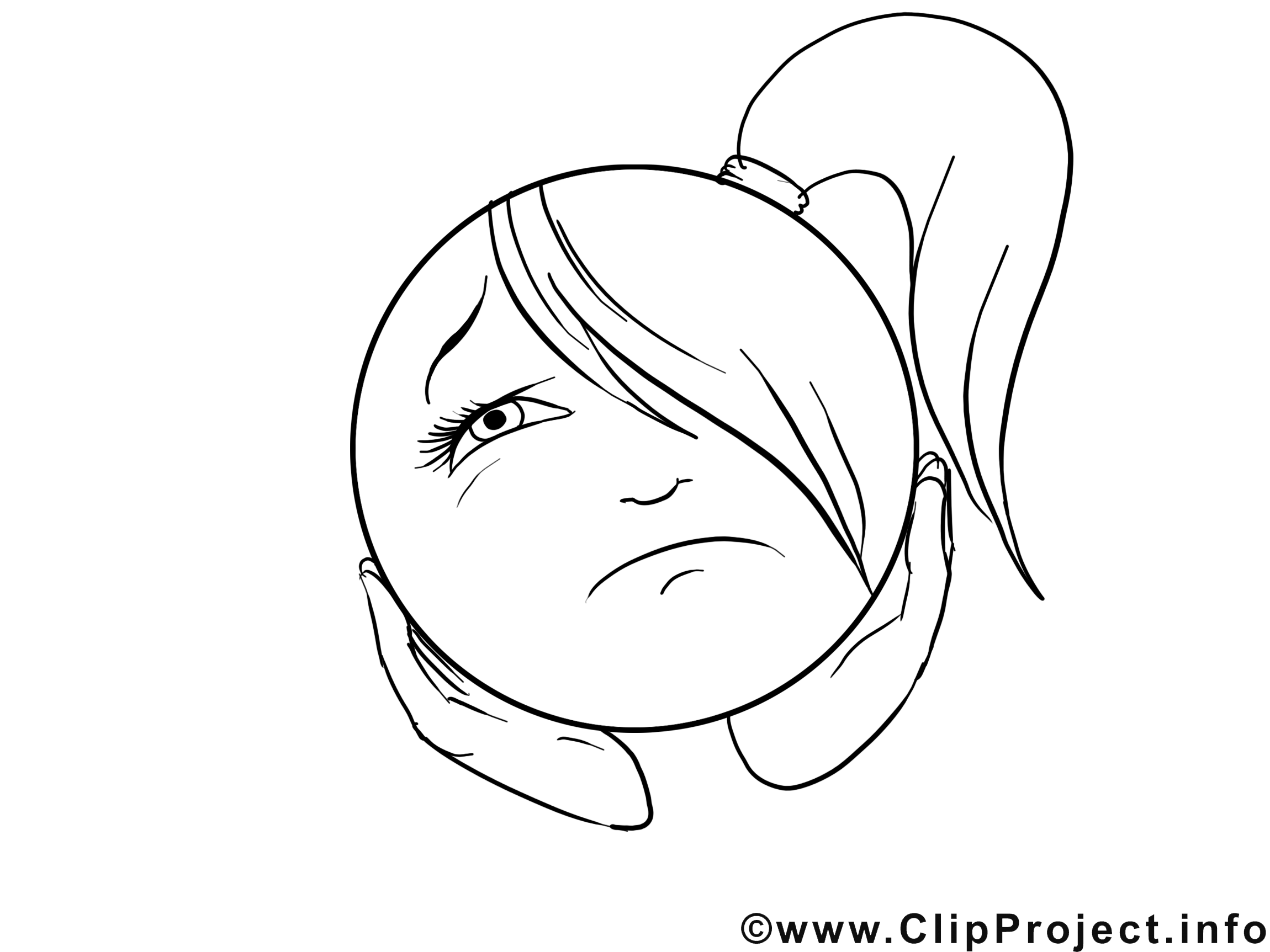 Triste clipart – Émoticônes dessins à colorier