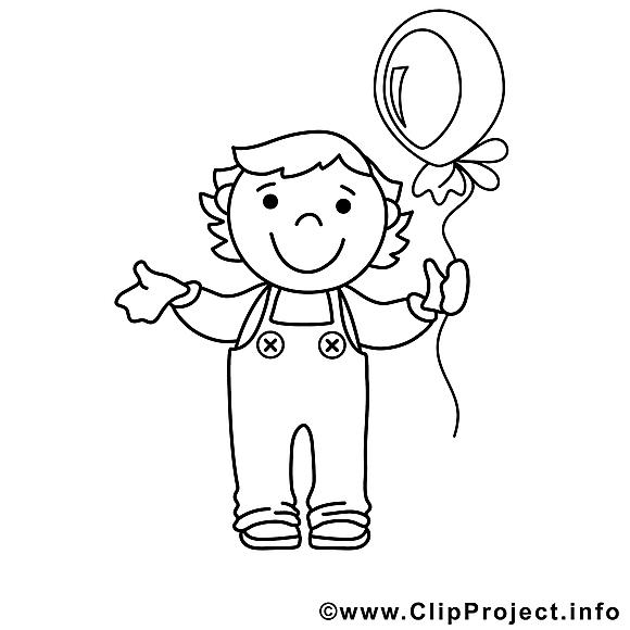 Ballon graçon illustration – Enfants à colorier