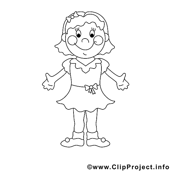 Fille clipart – Enfants dessins à colorier