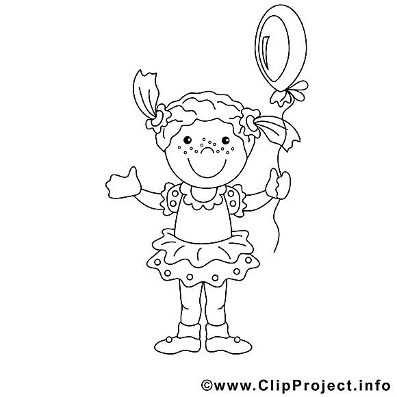 Fille image à télécharger – Enfants à colorier