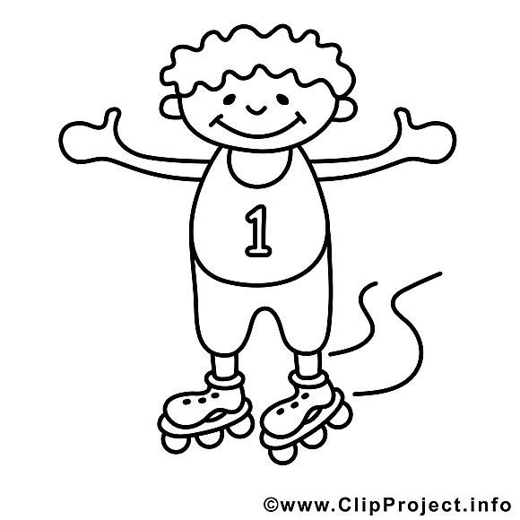 Garçon patins dessin – Enfants gratuits à imprimer