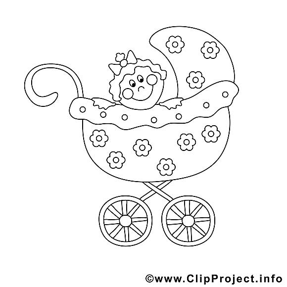 Poussette clip art – Enfants image à colorier