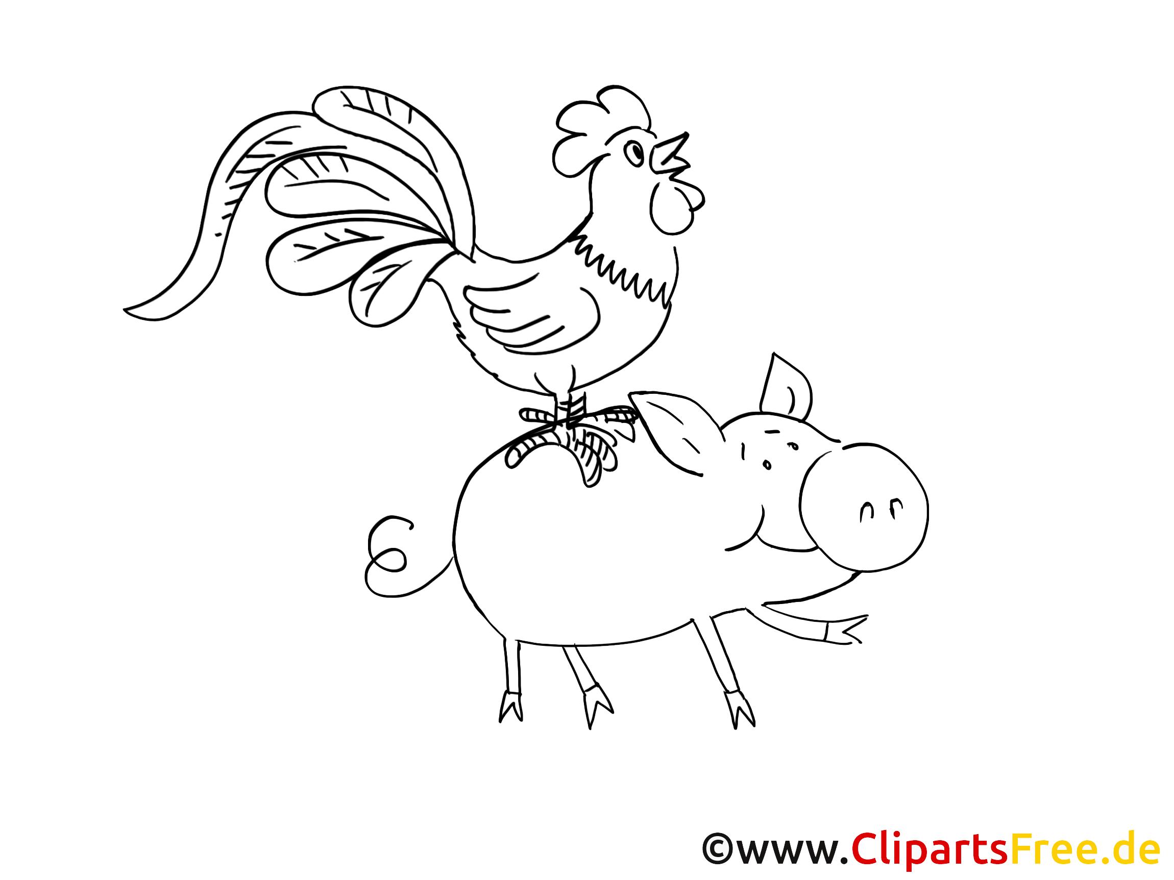 Animaux illustration à colorier – Ferme clipart