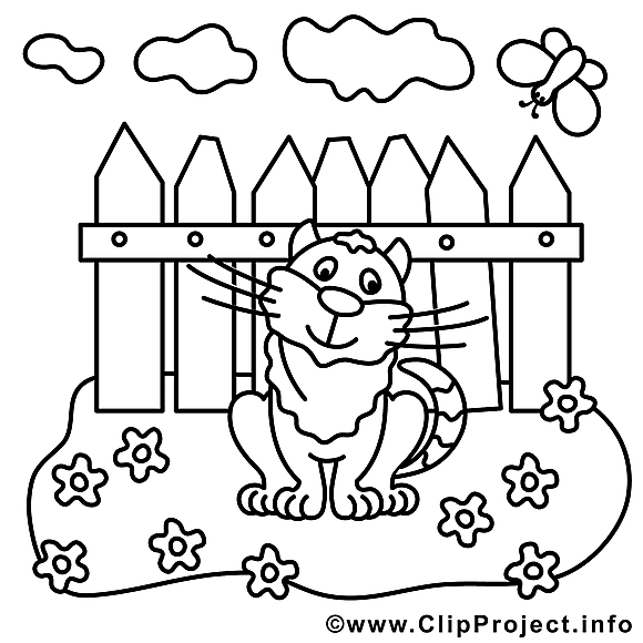 Chat illustration – Coloriage campagne cliparts