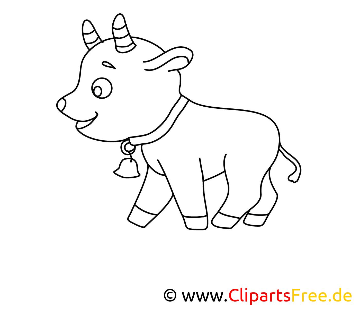 Chevreau clip art gratuit – Campagne à colorier