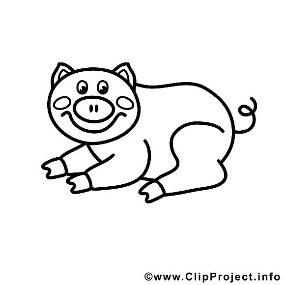 Cochon clip art gratuit – Campagne à colorier