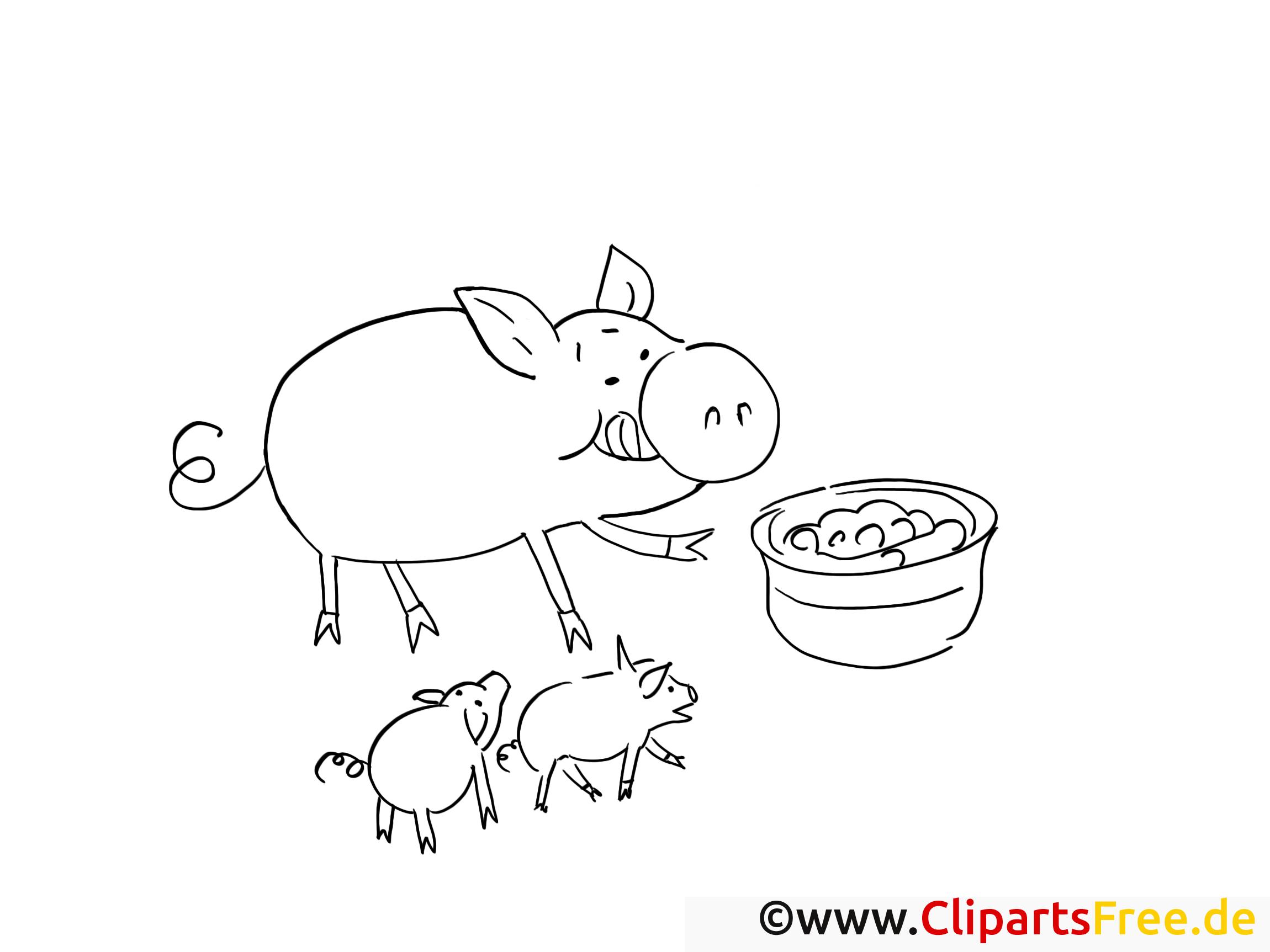 Cochon illustration – Campagne à imprimer