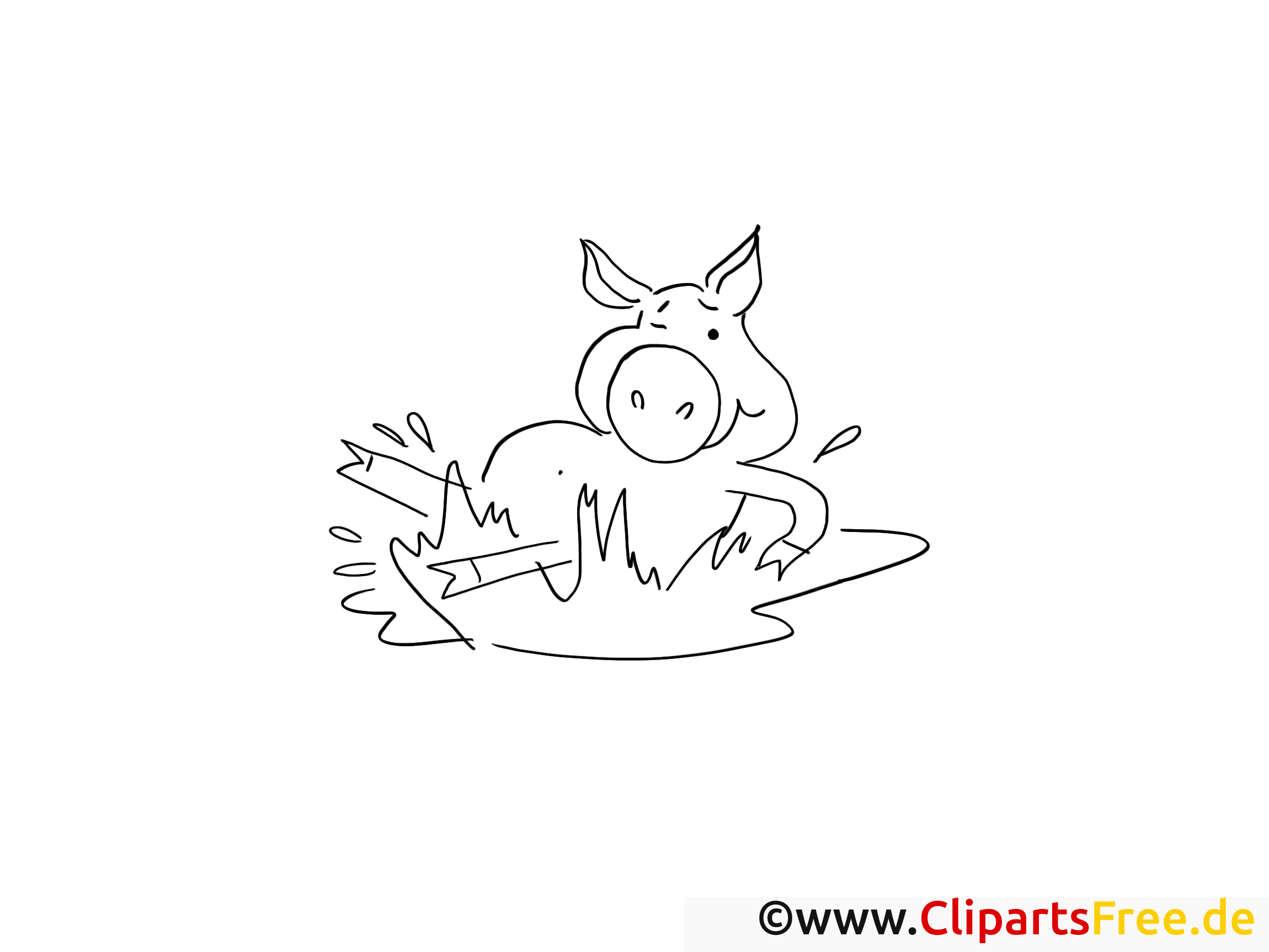 Dessin à télécharger cochon – Campagne à colorier