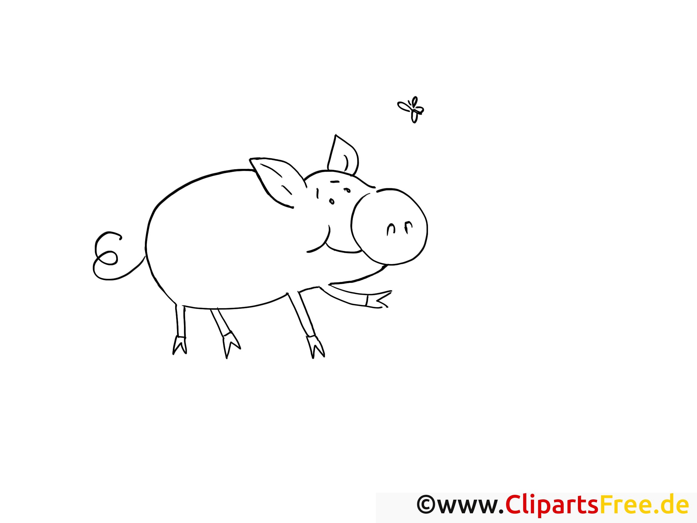 Dessins gratuits cochon – Campagne à colorier