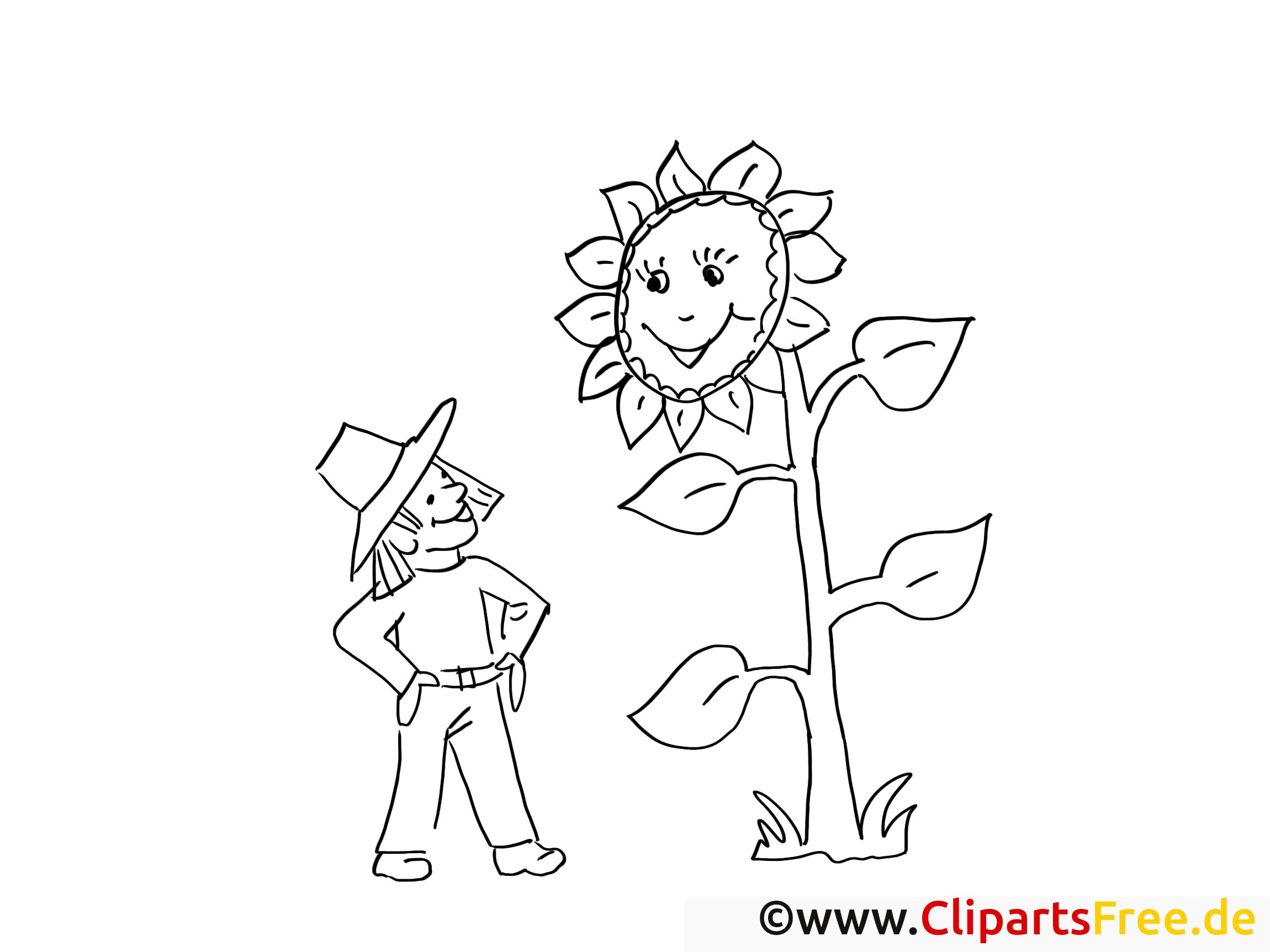 Fermier clip art gratuit – Campagne à colorier