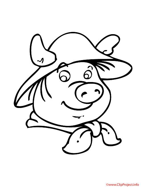 Le porc a la mode coloriage