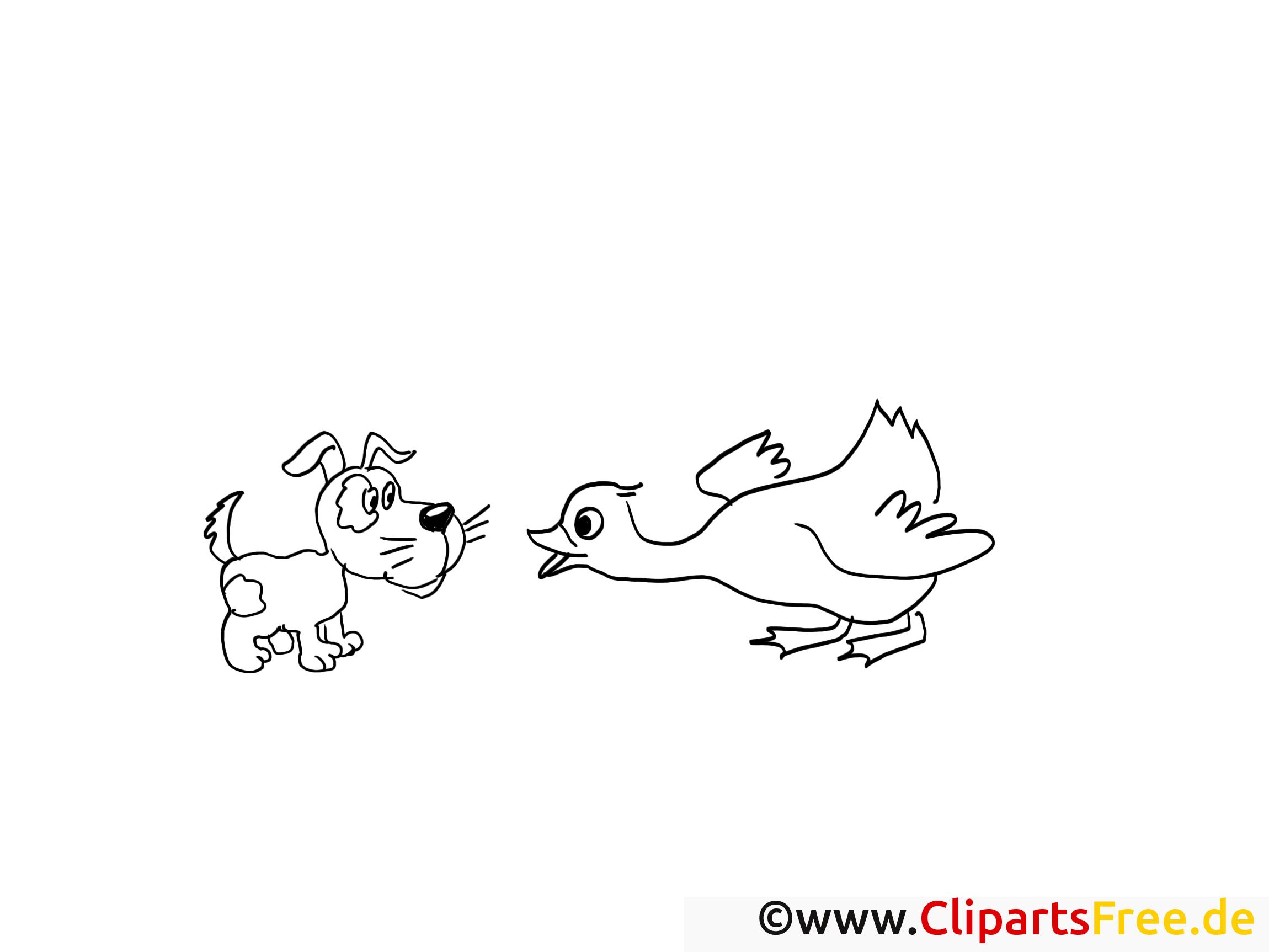 Oie chien image – Campagne images à colorier