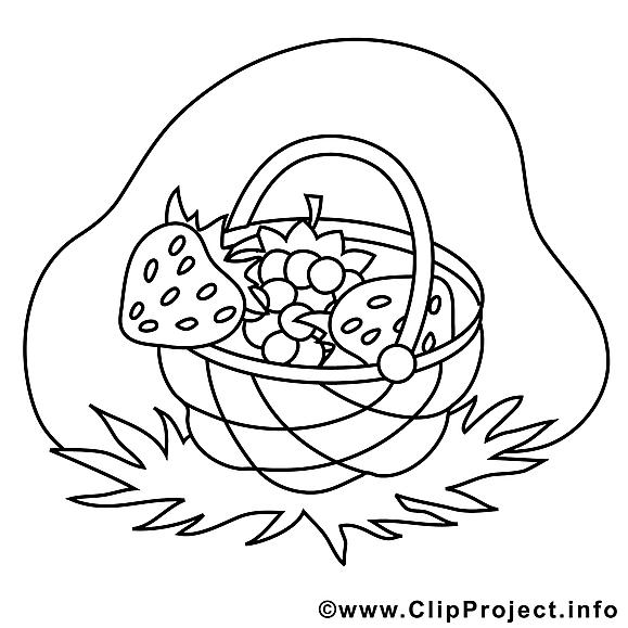 Panier illustration – Campagne à colorier