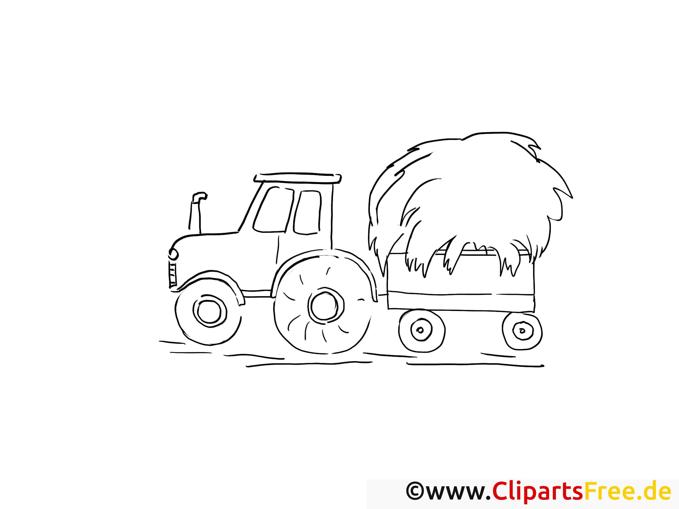 Tracteur dessin – Coloriage campagne à télécharger