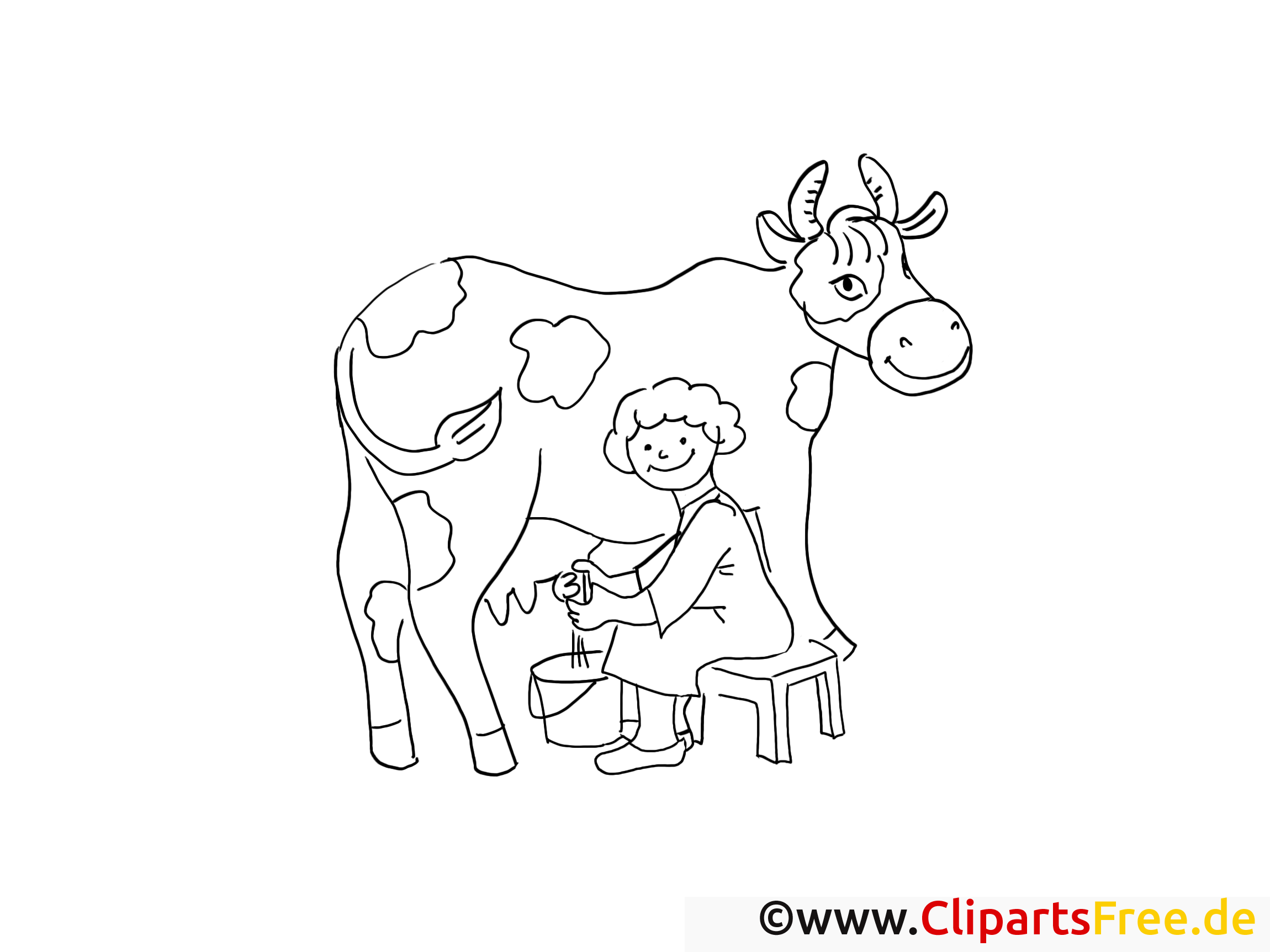 Vache illustration – Coloriage campagne cliparts