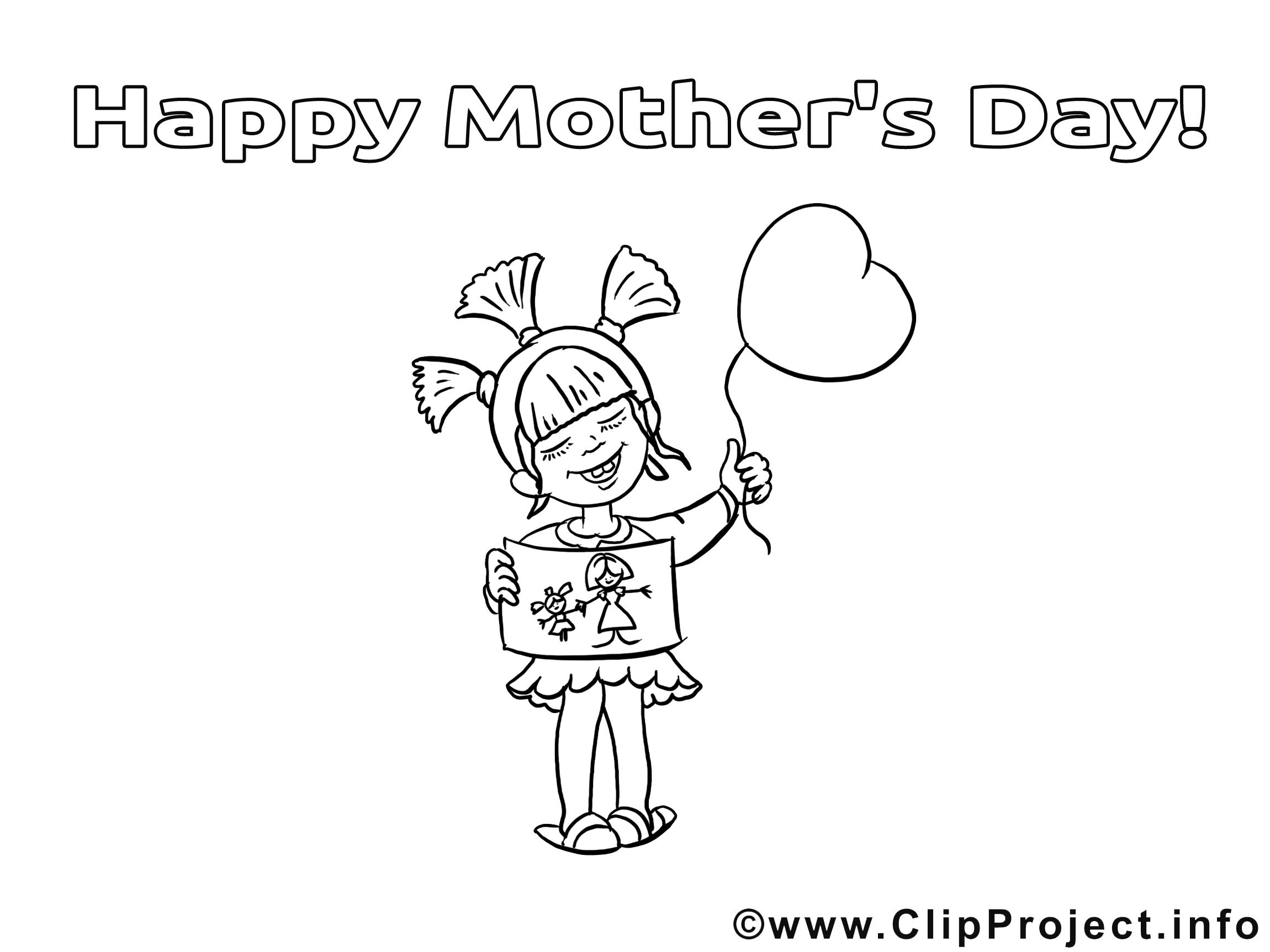 Ballon clipart gratuit – Fête des mères à colorier