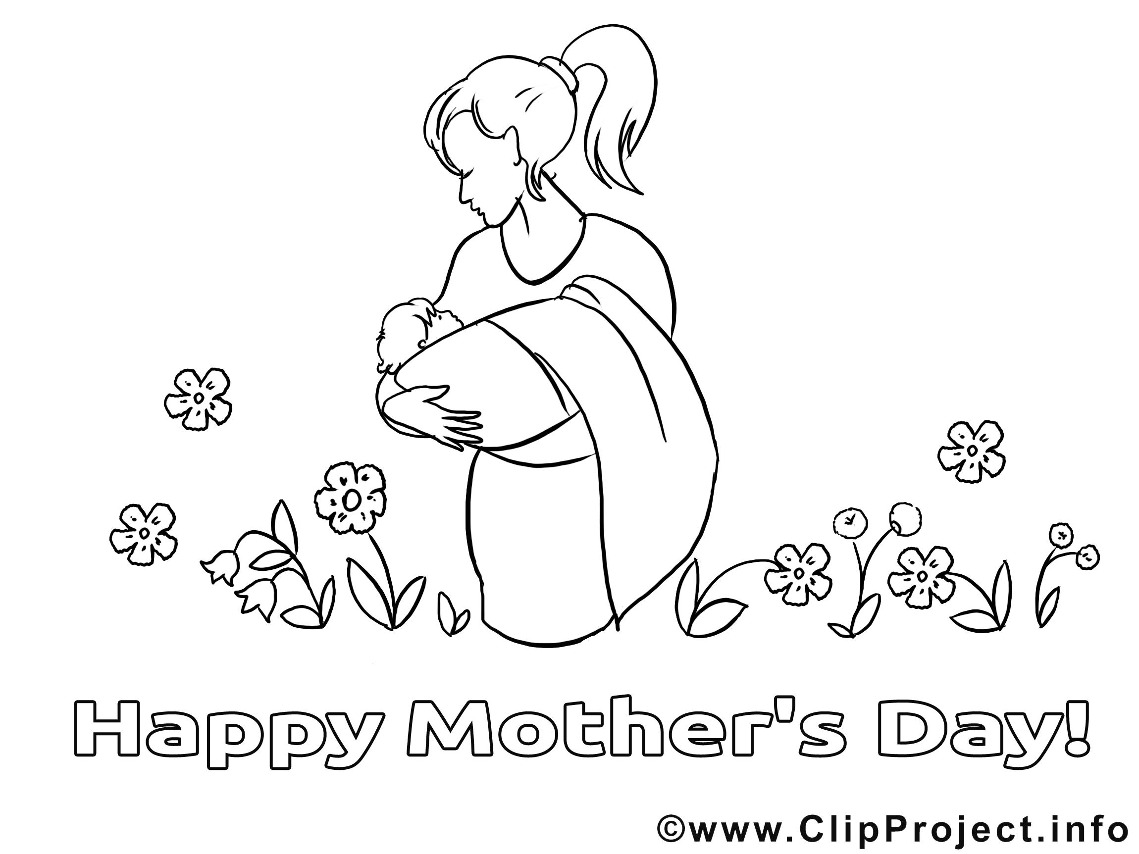 Bébé dessin gratuit – Fête des mères à colorier
