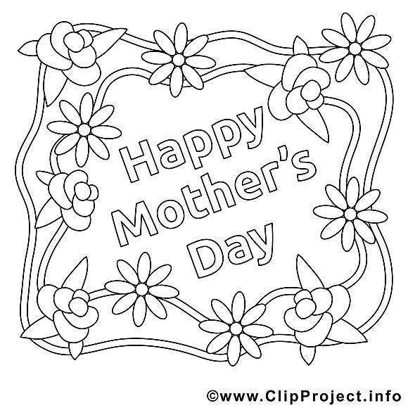 Carte dessin – Coloriage fête des mères à télécharger