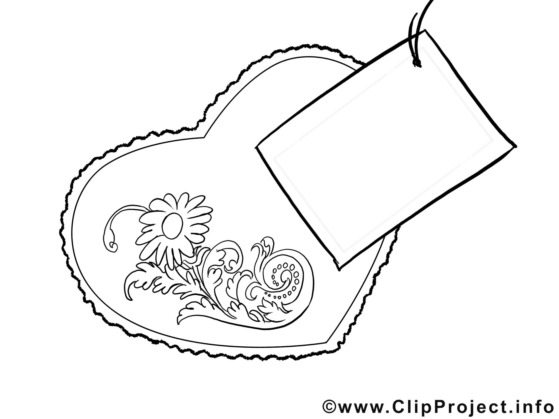 Clipart gratuit carte – Fête des mères à colorier