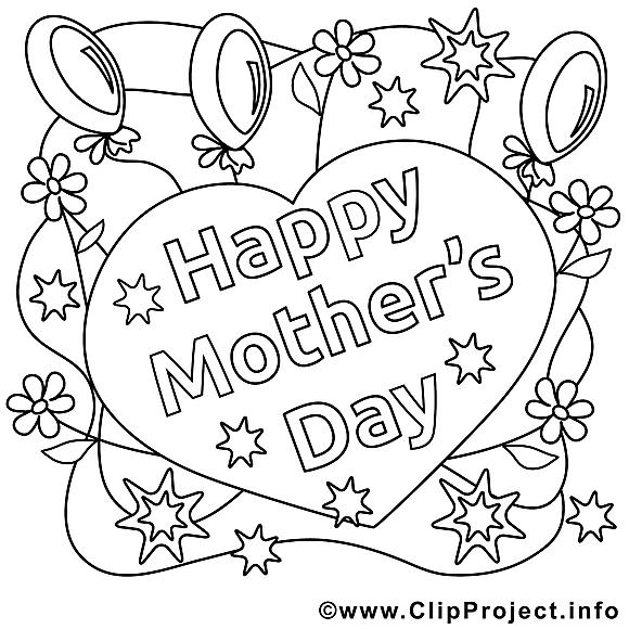 Coeur clip art – Fête des mères image à colorier